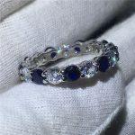 <b>Handmade</b> Finger <b>Jewelry</b> 925 Sterling Silver ring Sona Blue 5A zircon Stone Engagement Wedding Band Rings for women men Gift