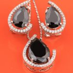 2017 Hot Sell Rushed Gracious Pear Black Onyx 925 Sterling <b>Silver</b> Overlay Jewelry Sets Earrings Pendants S8236