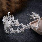 White Elegant Hairband Women Crystal Hair <b>Jewelry</b> Soft Tiara <b>Handmade</b> Hair Ornament Bride Crowns Silver Leaf Wedding Accessories