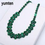 Yumten Malachite Necklace Natural Stone Crystal Women Bead Chain Fashion Classic Pendants Exquisite <b>Handmade</b> <b>Jewelry</b> Pingente