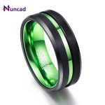 New Arrival Green Red Inner Ring Scrub Groove Men Rings 100% Tungsten Carbide Couple Anillos para hombres Fashion <b>Jewelry</b>
