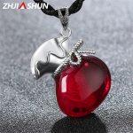 ZHJIASHUN 925 <b>Silver</b> Red Garnet Pendants & <b>Necklace</b> Lucky Amulet Shape Pendant Sterling <b>Silver</b> Jewelry for Women Female