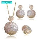 MECHOSEN Luxury Cubic Zirconia Round Big Pendant <b>Necklace</b> Earrings Ring Set Women Bridal Wedding <b>Jewelry</b> Set Brinco Anel Schmuck
