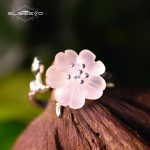 GLSEEVO Real 925 Seerling Silver Adjustable Ring For Women <b>Handmade</b> Natural Crystal Flower Open Ring Gift Fine <b>Jewelry</b> GR0006