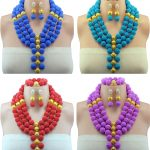 10Colors African Beads <b>Jewelry</b> Set Colored Party Women Nigerian <b>Wedding</b> African Beads Vintage Necklace and Earrings <b>Jewelry</b> Set