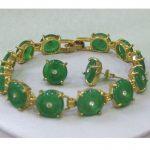 Prett Lovely Women's Wedding Beautiful GP green gem bracelet earrings set silver-<b>jewelry</b> brincos