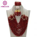 Nigerian Wedding African Beads <b>Jewelry</b> Set 2017 <b>Handmade</b> Coral/Pearl Costume Beads <b>Jewelry</b> Set Free Shipping CNR194