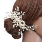 TUANMING Pearl Wedding Hair Comb Sparkling Silver Plated Crystal Simulated Pearl Bridal Hair Comb Hairpin <b>Jewelry</b> Hair Accessory