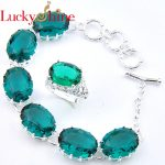Luckyshine Mix 2PCS 1 Set Unique Oval Fire Green Crystial Cubic Zirconia <b>Silver</b> Rings Earrings <b>Bracelets</b> Jewelry Sets