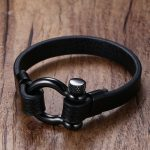 Mens Stainless Steel Screw Post Ancla Shackles Leather Bracelet in Black Nautical Sailor Surfer Bangle Wristband Male <b>Jewelry</b>