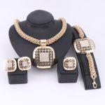 <b>Fashion</b> African Beads <b>Jewelry</b> Set Exquisite Dubai Gold Color Square Crystal <b>Jewelry</b> Set Nigerian Wedding Bridal Bijoux