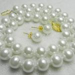 Hot sale new Style >>>>AAA 10mm White Sea South Shell Pearl Necklace Earring Beads <b>Jewelry</b> Set <b>Making</b> Natural Stone 18inch