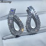 choucong Fashion earring princess cut AAAAA zircon cz White Gold Filled Engagement <b>Wedding</b> Stud Earrings for women <b>jewelry</b>