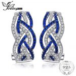 Jewelrypalace Infinity 0.4ct Created Blue Spinel Pave Hoop <b>Earrings</b> 925 Sterling <b>Silver</b> Fine Jewelry Trendy <b>Earrings</b> For Women