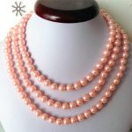 2017 New 8mm Pink Ocean Shell Pearls Necklace Pearl <b>Jewelry</b> <b>Making</b> Rope Chain Pearl Beads Natural Stone 50inch (Minimum Order 1)