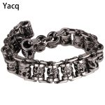 YACQ Men Dragon Stainless Steel <b>Bracelet</b> 316L Biker Heavy Punk Rock Jewelry Gift for Him Dad <b>Silver</b> Tone 8.5″ GB312 dropshipping