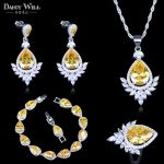 Russian Style Sparkling Yellow Cubic Zirconia <b>Earring</b> And Necklace Fashion Women <b>Silver</b> Color 925 Stamp Bracelets Jewelry Sets