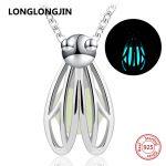 LONGLONGJIN new 925 sterling silver lovely firefly glowing chain necklace&pendant European diy fine <b>jewelry</b> factory <b>supply</b> gifts