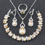 Hot Sale Yellow Orange Morganite White Crystal Jewelry Sets For Women 925 Logo <b>Silver</b> Color Necklace Earrings Ring <b>Bracelet</b> b23
