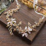 Dower me Bridal Gold Leaf Headband Tiara Pearls Hair <b>Jewelry</b> Handmade <b>Wedding</b> Accessories Women Prom Headpiece