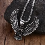 Mens Punk Hawk Necklaces Stainless Steel Vintage Flying Eagle Pendant Necklace for Men Animal Fashion <b>Jewelry</b> <b>Accessories</b>