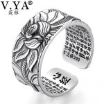 V.YA 100% Real 999 Pure Silver <b>Jewelry</b> Lotus Flower Open Ring For Men Male <b>Fashion</b> Free Size Buddhistic Heart Sutra Rings Gifts