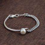 Pure 925 <b>Silver</b> Pearl <b>Bracelet</b> Fashion S925 Thai <b>Silver</b> Link Chain Bangle <b>Bracelets</b> for Women Jewelry