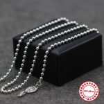 S925 sterling <b>silver</b> <b>necklace</b> bead chain personalized classic jewelry army long <b>necklace</b> couple models send lover's gift