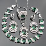Silver 925 Costume Wedding <b>Jewelry</b> Sets Green Zirconia Earrings Rings Pendant&<b>Necklace</b> Bracelets Stones Set Jewellery Gift Box