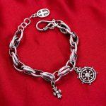 MetJakt Punk Anchor/cross Charm <b>Bracelet</b> Solid 925 Sterling <b>Silver</b> Handmade <b>Bracelet</b> for Women and Men Jewelry(17.5-19.5cm)