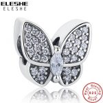 ELESHE Fit Original ELESHE Charms Bracelet 925 Sterling Silver Pave CZ Crystal Butterfly Beads <b>Jewelry</b> <b>Making</b> Christmas Gift
