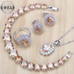 Cubic Zirconia Silver 925 Bridal <b>Jewelry</b> Sets Women Wedding <b>Jewelry</b> Pendants&<b>Necklaces</b> Rings Bracelets Earrings Set Gift Box