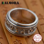 BALMORA 100% Real 925 Sterling Silver Six Words Mantra Rings Gifts Religious <b>Jewelry</b> Men Thai Silver Ring High Quality SY20186