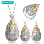 MECHOSEN Luxury AAA Zirconia Water Drop <b>Necklace</b> Earrings Ring Women Bridal Wedding Jewelry Set <b>Silver</b> Color Brinco Anel Schmuck