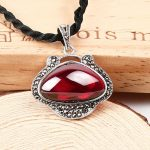 FNJ 925 Silver Pendant Pure S925 Solid Thai Silver Natural Green Stone Synthetic Garnet Pendants for Women <b>Jewelry</b> <b>Making</b>