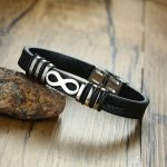 Vnox Infinity Charm Mens Bracelets Genuine Real Leather Bangle for Men Stainless Steel Black Male <b>Jewelry</b> Accesories