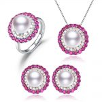 SNH9mm button AAA 925silver jewelry set, 100% real natural freshwater pearl jewelry gifts for women,pendant & <b>earrings</b> & ring