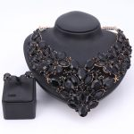 Luxury Wedding Bridal <b>Accessories</b> Statement <b>Jewelry</b> Sets For Women Black Rhinestones Crystal Necklace Earrings Holiday Party Set