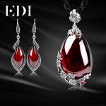 EDI Women Retro Garnet Pendant Necklace Gemstone Drop <b>Earrings</b> For Women 925 Sterling <b>Silver</b> Choker Jewelry Sets Wedding Gift