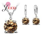 JEXXI Selling 925 Sterling Silver <b>Jewelry</b> Sets 4 Claws Cubic Zirconia Pendant Necklace Hoop Earring For Women Elegant Charms Pin