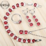 New Red Zircon 925 Sterling <b>Silver</b> Jewelry Sets Women <b>Bracelets</b>/Pendant/Necklace/Earrings Rings Jewelery With Stones Gift Box