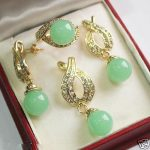 Women's Wedding Fashion 12mm Green GEM Pendant Necklace Earrings Ring Set 5.23 real silver mujer fine quality
