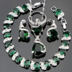 Green Zircon Bridal Silver 925 <b>Jewelry</b> Sets Women Charms Bracelets Pendant&Necklace Rings Earrings With Stones Set Gift Box