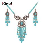 Kinel Luxury Vintage Wedding <b>Jewelry</b> Sets Antique Gold Crystal Tassel <b>Necklace</b> And Earrings For Women Ethnic Style <b>Jewelry</b>