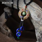 BOEYCJR Ethnic Tassel Pottery Ceramic Collar Necklace Chain <b>Handmade</b> Vintage Indigenous Long Pendant Necklace for Women <b>Jewelry</b>