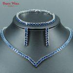 DANDY WILL Luxury Bridal <b>Jewelry</b> Sets For Women Wedding Blue CZ <b>Handmade</b> Rhinestone Silver Color Necklace/Earrings