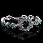 Limited Edition Classic S925 <b>Silver</b> Pure <b>Silver</b> Watch Green Jade <b>Bracelet</b> Watch Thailand Process Rhinestone Bangle Dresswatch