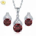 Hutang 3.85ct Pendant & <b>Earrings</b> Natural Gemstone Garnet Solid 925 Sterling <b>Silver</b> Fine Bridal Jewelry Sets For Women's Gift