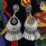 Original Design India Gypsy Arabia Ancient Silver Long Earring Ancient Tribe BOHO <b>Handmade</b> <b>Jewelry</b>. Lslamic Nepal Wild <b>Jewelry</b>