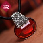 2018 new 925 <b>Sterling</b> <b>Silver</b> Necklace Vintage red Garnet kingdom Love big Pendant with chain women <b>jewelry</b> lovers gift for girls